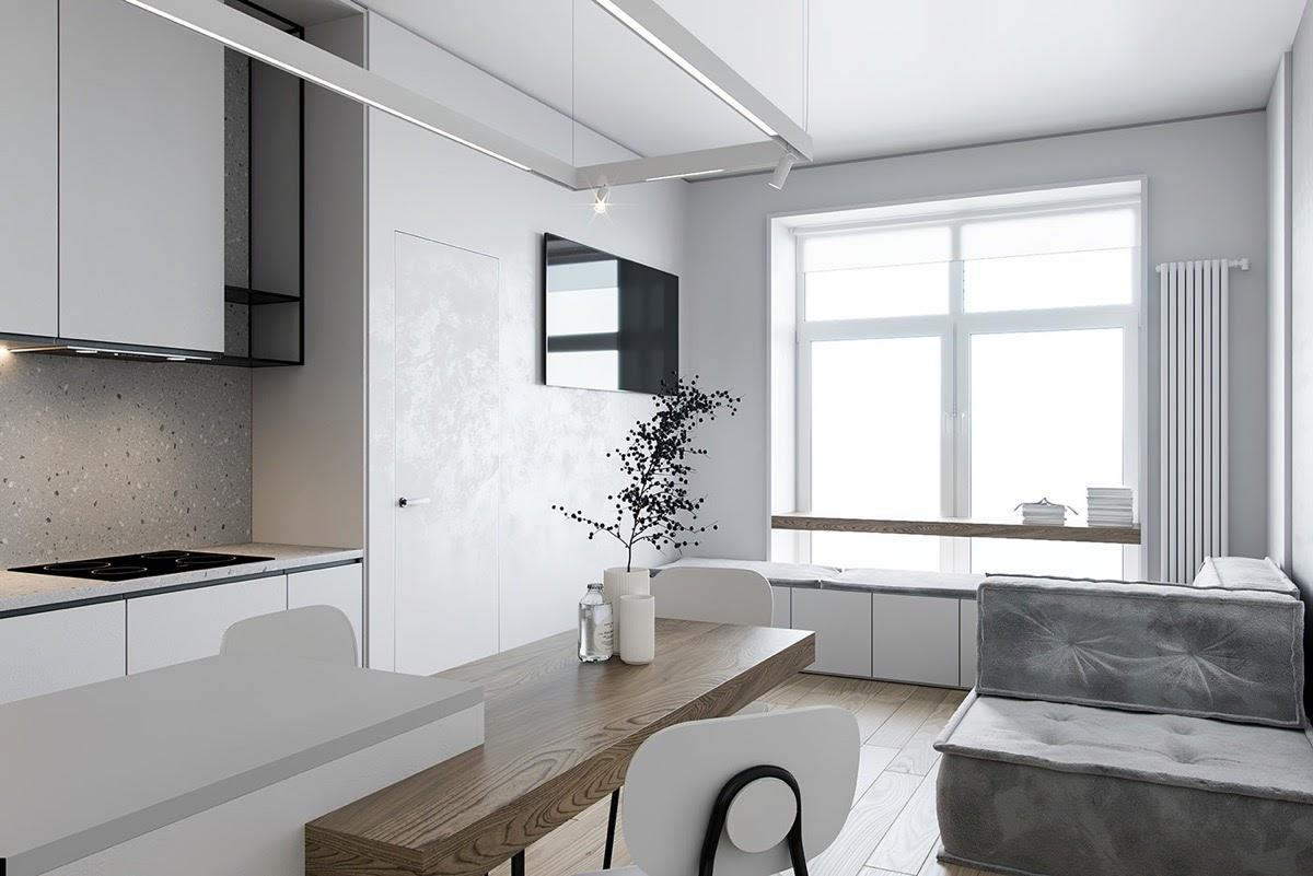 """Phòng khách chung cư có diện tích nhỏ nên lựa chọn những màu sáng để """"đánh lừa"""" thị giác"""