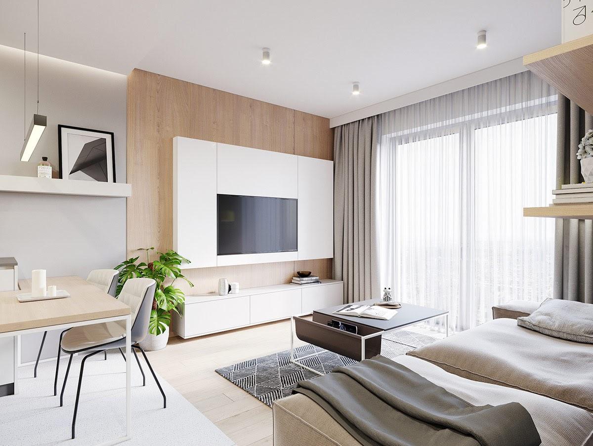 Ánh sáng tự nhiên mang đến cho phòng khách chung cư một không gian sống thoáng đãng, thoải mái