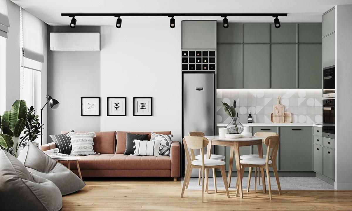 Thiết kế phòng khách chung cư đẹp bằng gỗ công nghiệp