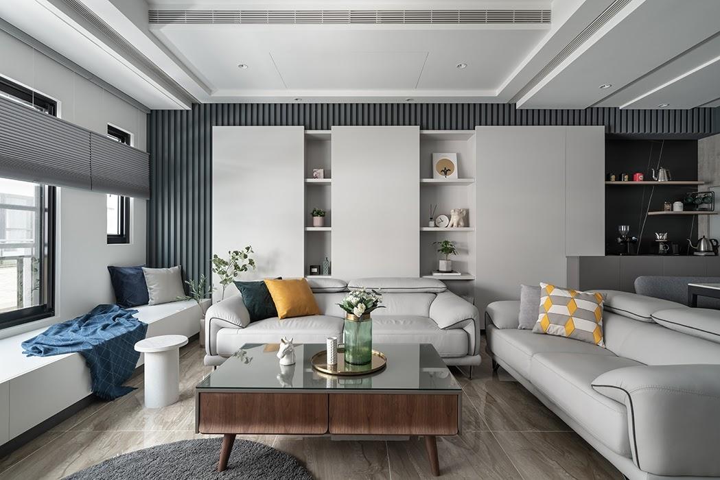 Tổng thể không gian nội thất phòng khách chung cư với đầy đủ đồ nội thất tiện nghi và hiện đại