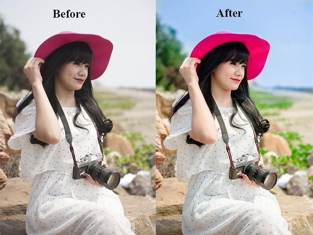 Hình ảnh trước và sau khi blend màu bằng lightroom